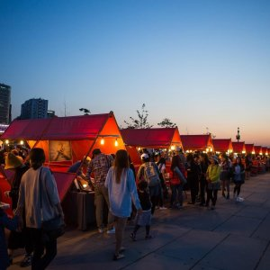 a night market called bamdokkaebi in seoul, korea, which shows culture ranging from food, snacks, and many korean crafts