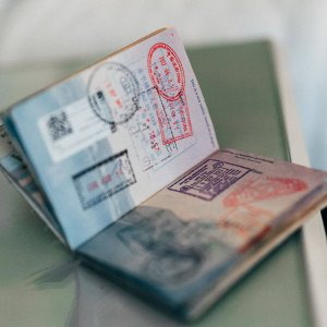 one of the travel documents, namely a passport, contains a visa in the form of a stamp